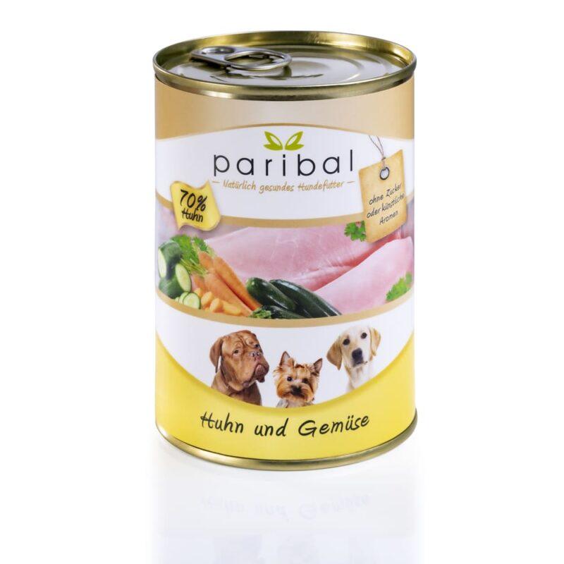 huhn-und-gemüse-385g, Dosenfutter für Hunde mit 70% Huhn und Gemüse von Paribal