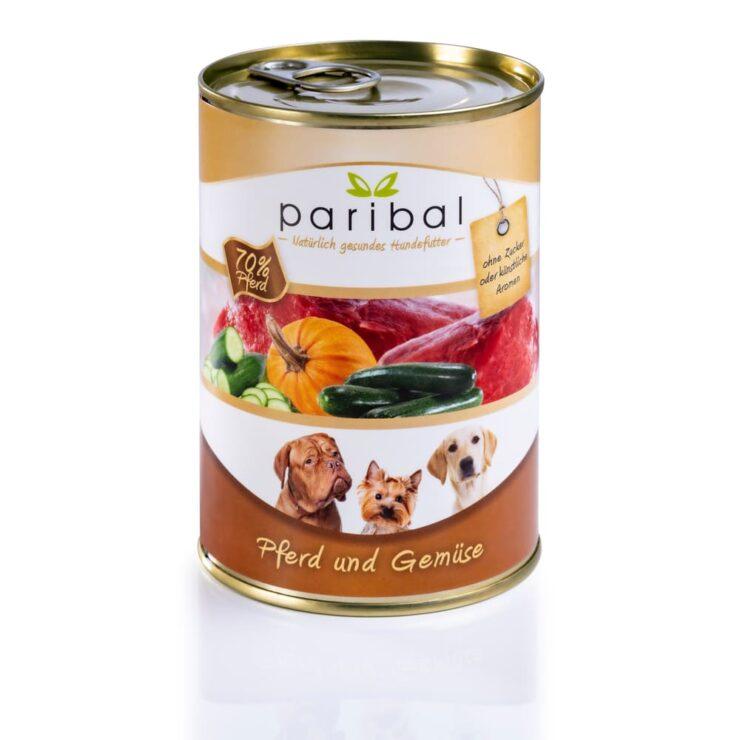 pferd-und-gemüse-385g, Hundefutter Menü in der Dose von Paribal, 70 % Pferdefleisch