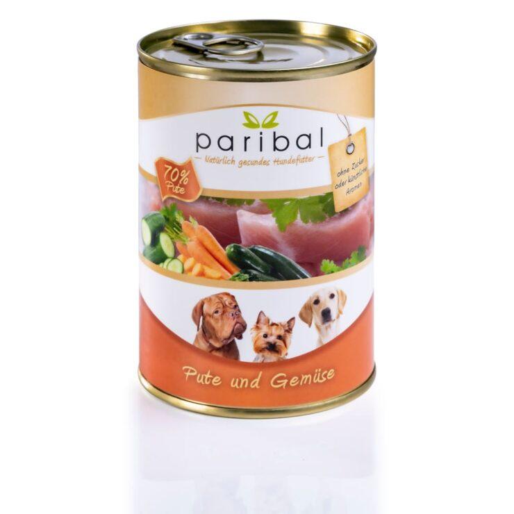 pute-und-gemüse-385g Hundefutter in der Dose von Paribal