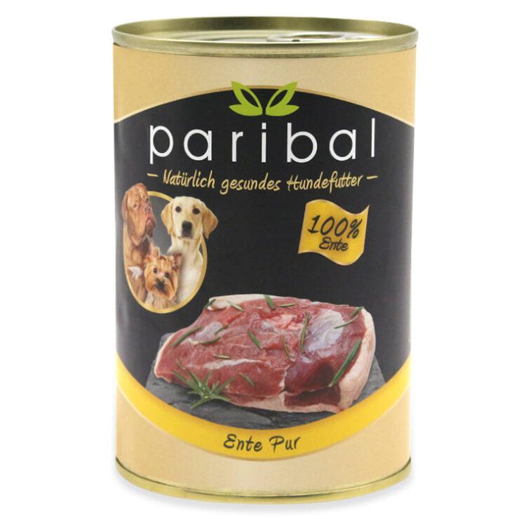 ente-pur-385g, Dosenfutter 100% Fleisch von der Ente als Hundefutter, Hundefutter vom Metzger, hergestellt von und durch Paribal