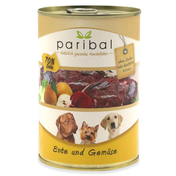 ente-und-gemüse-385g, Hundefutter in der Dose mit 70% Ente und Gemüse als Hundemenü von Paribal