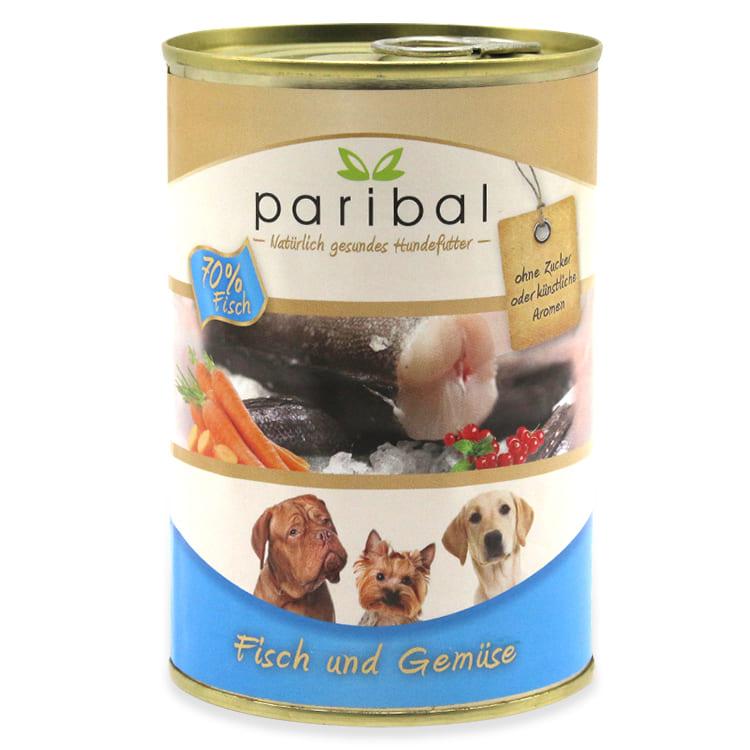fisch-und-gemüse-385g, Dosenfutter für Hund, 70% Fisch und Gemüse von Paribal als gesundes Hundefutter
