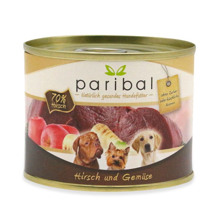 hirsch-und-gemüse-185g, kleine Hundefutter Dose von Paribal mit Hirschfleisch und Gemüse natürliches Hundefutter