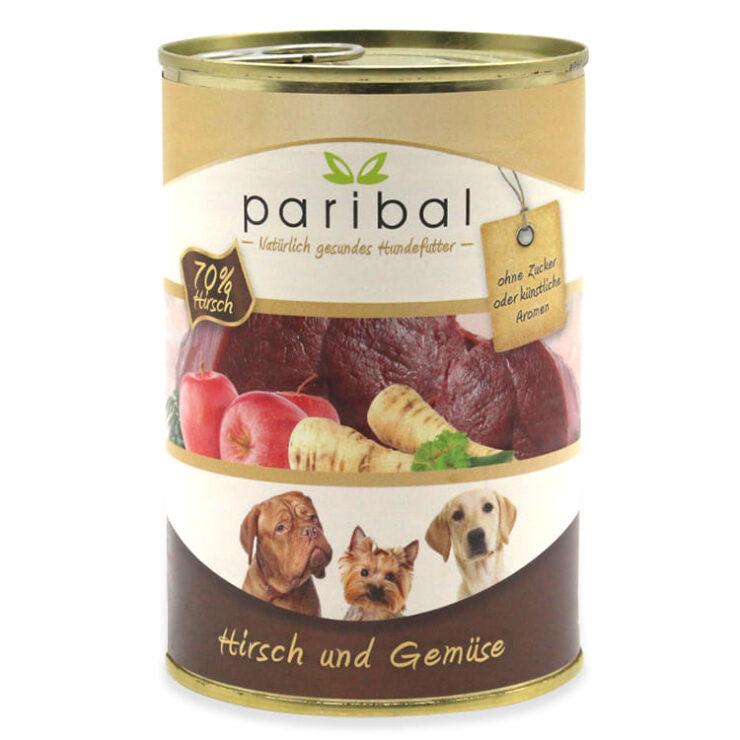 hirsch-und-gemüse-385g, Dosenfutter 70% Fleisch vom Hirsch + Gemüse als Hundefutter von Paribal, Hundefutter vom Metzger