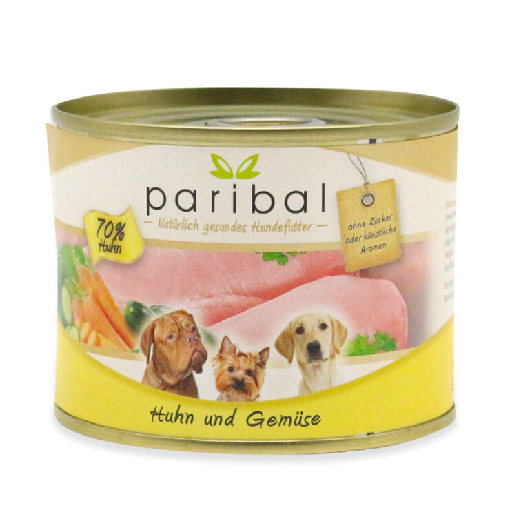 huhn-und-gemüse-185g, kleine Dose, Dosenfutter für Hunde mit 70% Lamm und Gemüse, gesundes Hundefutter von Paribal
